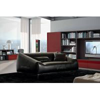 China Brazil Leather Living Room Couches , 3 Seats Black Lounge Chair on sale