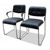 China Black Computer Office Furniture Chairs Synthetic Leather Metal Frame Comfortable on sale