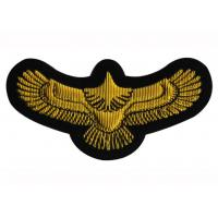 China Gold Wings Regimental Blazer Badges For T - Shirt , Embroidered Crest Patches wholesale