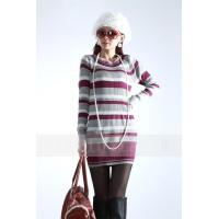 China Fashion Pullover Cable Knit Sweaters / Long Striped Sweaters For Women on sale