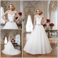 Buy cheap Romantic Tulle Pleated Chapel Train Wedding Dresses with Sweetheart Neckline product