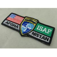 China ISAF Custom Embroidery Patches / Woven America Military Velcro Patches on sale