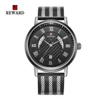 Quality Mesh Strap Mens Watches Quartz Stainless Steel Mineral Crystal Glass With Date for sale