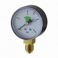 China Plastic Case Bourdon Tube Pressure Gauge with Brass Movement on sale