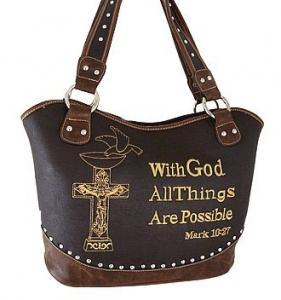 bourse occidentale /handbags de croix de fausse pierre avec le vers de bible