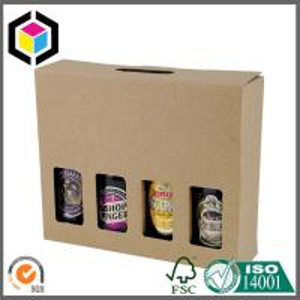 4 Bottle Beer Wine Kraft Carton Box; Beer Corrugated Packaging Box with Handle