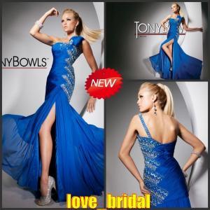 Buy cheap Vestidos de noche 2013 azules cristalinos de la gasa del hombro de encargo de la línea A una del diseñador en línea product