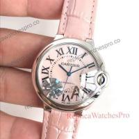 Buy cheap New Cartier Ballon Bleu De 36mm Watches with Pink Face Pink Leather Band product