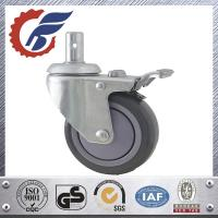Quality ANK grey PU wheel caster with total lock brake swivel stem caster in home care for sale
