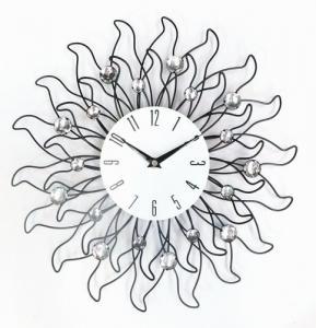 Buy cheap 家の装飾のためのCristalのビードの銀の金属の水晶柱時計との15インチの花の形 product