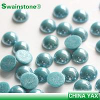 Buy cheap Half Round Square loose pearl round,loose ceramic pearl round,loose pearl rhinestone round product