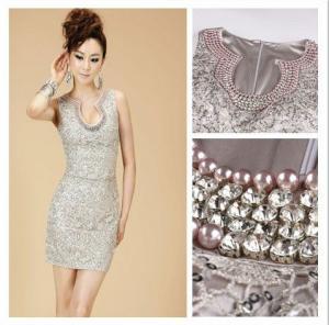 China Sleeveless Pearl Diamond Womens Cocktail Dresses , Semi Formal Attire on sale