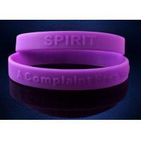 China Purple Debossed Silicone Wristband Bracelet For Promotional Gift on sale