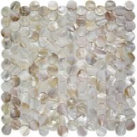 Buy cheap Round Mother Of Pearl Bathroom Tiles Fresh Water Seashell Decor 2mm Thickness product