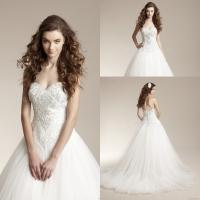 Buy cheap Graceful White Tulle Wedding Gowns with Bling Beading Crystals product