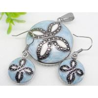 China Stainless Steel Light Blue Enamel Jewelry Sets 1900313 on sale