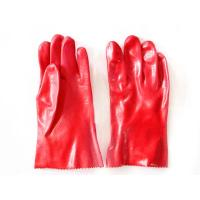 China protective red PVC dipped glove acid alkali resistance gloves working gloves on sale