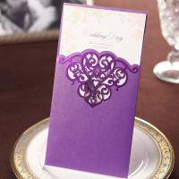 Buy cheap Shiny Purple Hollow Pattern Wedding Invitations Cards with Envelopes and Seals, Customized Printing product