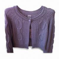China Women's Cardigan with Long-sleeve Cable Knit on Front and Back, Made of Cotton on sale