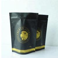 China custom one way degassing valve coffee bags zip lock black stand up heat seal coffee bags on sale