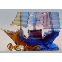 Buy cheap Office Desk Decoration Colored Glaze Crafts , Chinese Style Sailing Boat Adornment product