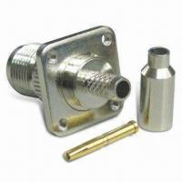 Buy cheap RF Connector TNC Jack Panel 4 Holes Crimp for RG174, with Teflon Insulator product