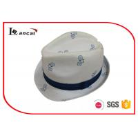 Buy cheap Bicycle Printing White Cotton Trilby Hat Women With Seamless Splicing Ridded Band product