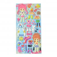 Buy cheap Acrylic Jewel Embossed Girls Dress Puffy Stickers Japanese Style Girls 3D Design DIY Dress Up Fun Game product