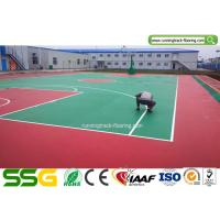 Buy cheap Indoor Basketball Silicon PU Sports Flooring Stable Surfacing Materials Red / Green product
