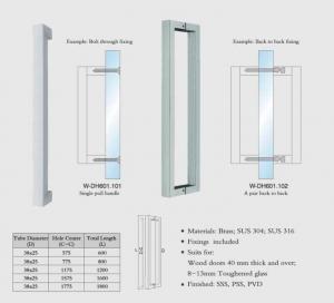 Buy cheap square tub W-DH601 back to back SUS304 Stainless Steel entry door handles set  glass door  handle wooden door handles product