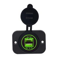 Buy cheap 12V 24V for Motorcycle Car +5V 3.1A Green LED Light Dual USB Charger Socket Adapter Power Outlet product