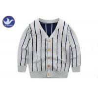 Buy cheap Vertical Stripes Grey Navy Boys Knitted Cardigan Sweaters / Double Layer Kids Knitwear from wholesalers