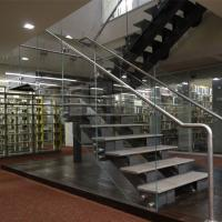 Buy cheap U Shape Tempered Glass Stair Railings Interior , Steel Staircase With Wood Treads product