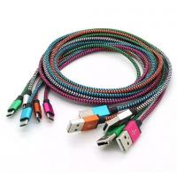China 1M 2M 3M Unbroken Metal Connector Fabric Nylon Braid Micro USB Cable Lead charger Cord S7 wholesale