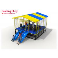 Buy cheap Combined Trampoline Park Equipment ,  25 Sqm Square Trampoline With Slide Roof product