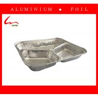 Quality Rice Cooked Rectangular 3 Compartments Aluminum Foil Food Storage Tray for sale