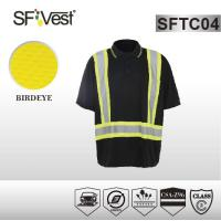 China Polyester birdeye mesh fabric man hi vis workwear shirt WITH woth elastic rib collar on sale