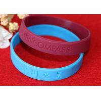 China Lettering Debossed Silicone Wristbands , Rubber Promotional Bracelets Smooth Edge on sale