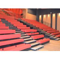 Customized Space Retractable Grandstands With Red Upholstered Bench