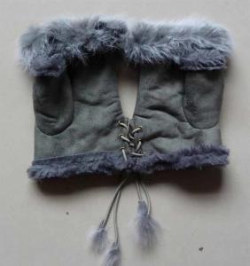 Buy cheap Genuine Sheepskin Leather Lamb Lining Gloves kids Fur Mitten Gloves product
