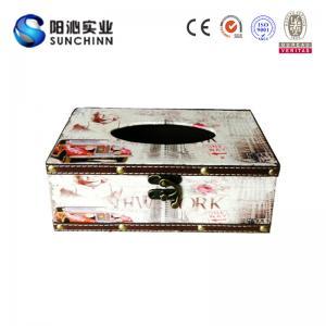 Buy cheap Toile de Muticolored imprimant la boîte de tissu de boîte en bois/conteneur de papier pour le stockage de papier product