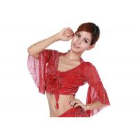 Classic Sexy Red Belly Dancing Bra Tops With Flare Sleeve