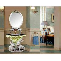 Buy cheap Luxury Decorative Furniture Antique Resin Bathroom Sink Cabinet With Mirror product