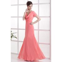 China Watermelon V Neck Chiffon Ruffle Floor Length Mother Of The Bride Gowns Mermaid Style 2013 Online Cheap on sale