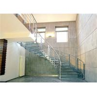 Buy cheap House Using  Stainless steel curved staircase with Glass Railing product