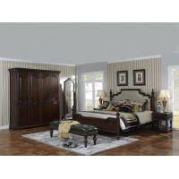 Buy cheap Sandalwood Bedroom set Classic style BT-2902 High fabric Upholstered headboard Wooden king size bed with Cloth Wardrobe product