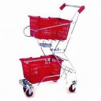China Shopping Cart/Basket Holder Trolley with Epoxy Finish and Strong Base on sale