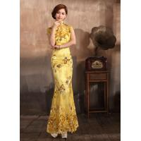 Buy cheap Embroidery Sequin Lace Qipao Wedding Dress with short sleeve , Yellow / Blue / Green / Red product