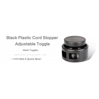 Black Plastic Cord Stopper & Adjustable Toggle