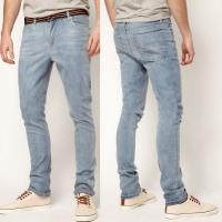 Buy cheap Light blue men washed narrow leg jeans cheap 5 pocket jeans   product